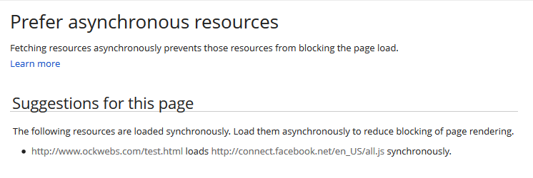 Prefer asynchronous resources - Fetching resources asynchronously prevents those resources from blocking the page load. - Page Speed Insights