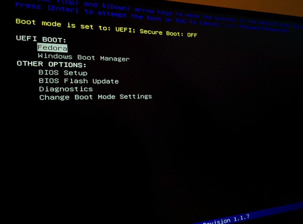 Dual UEFI boot options (Fedora and Windows Boot Manager)
