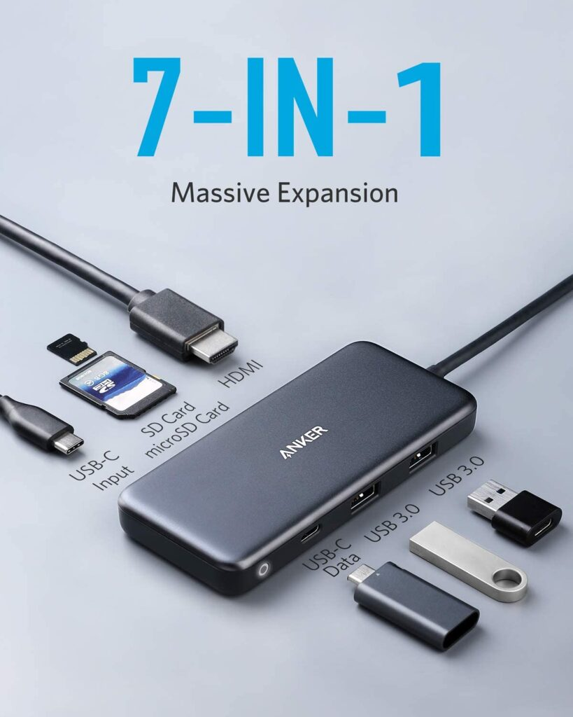 Anker 7-in-1 USB-C hub official product image demonstrating all the ports.