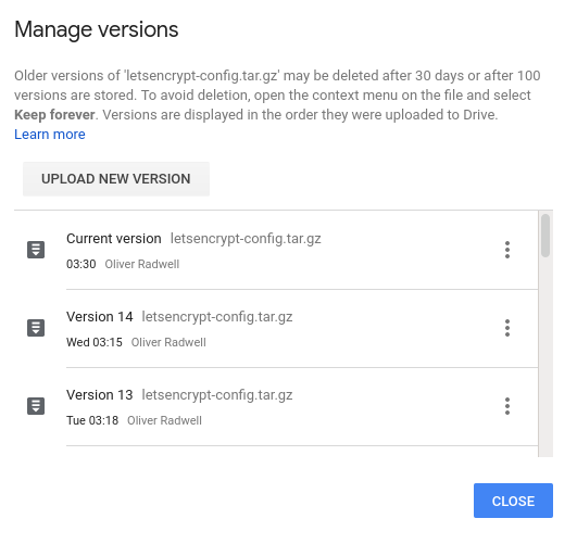 """Screenshot of Google Drive showing previous versions of a file named """"letsencrypt-config.tar.gz"""""""