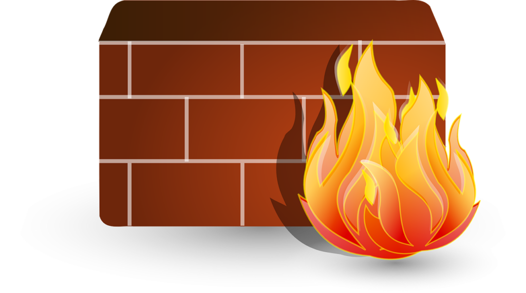 Fire next to a wall