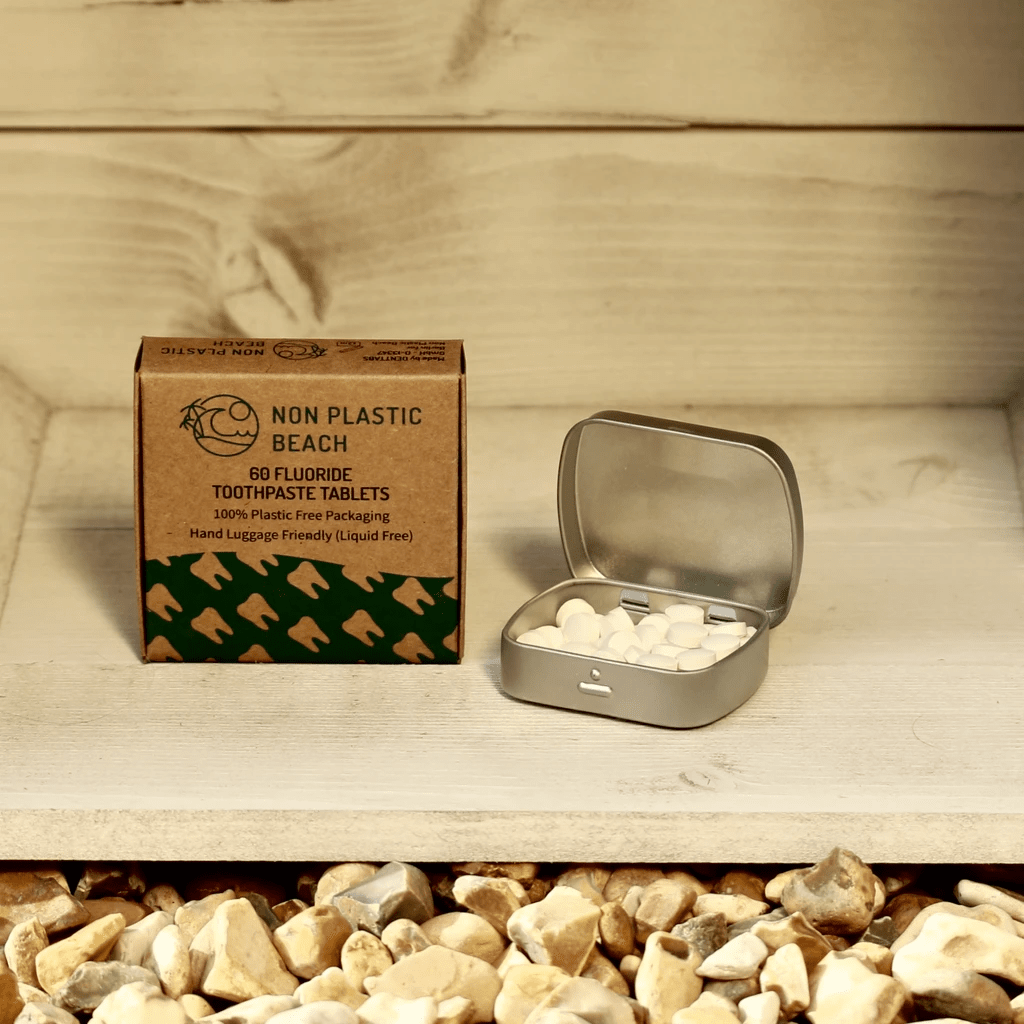 Non Plastic Beach toothpaste tablets with storage tin