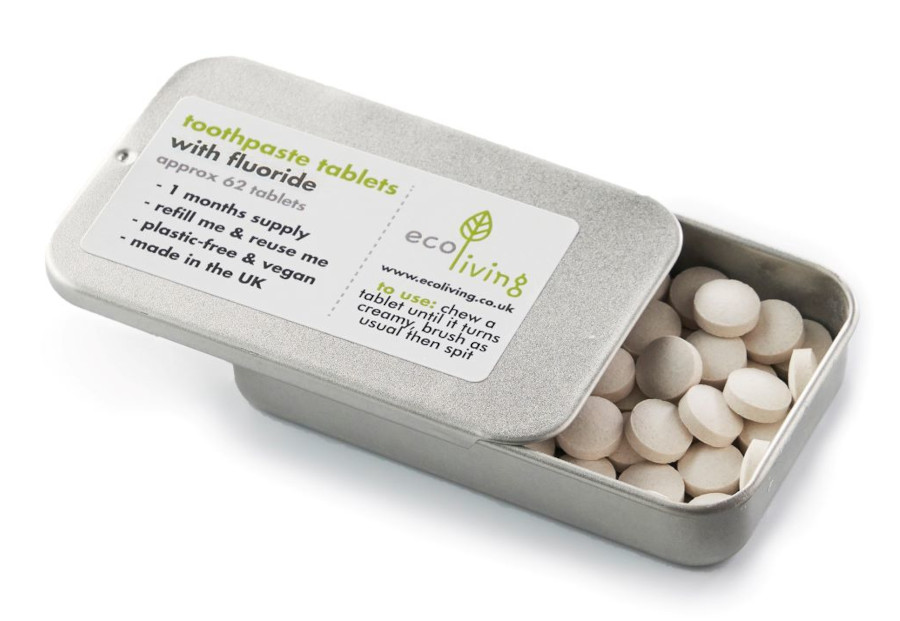 ecoLiving toothpaste tablets with fluoride in a tin