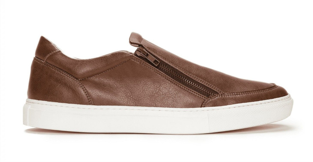 NAE Vegan EFE Brown Slip-on Trainers with white soles and a side zipper