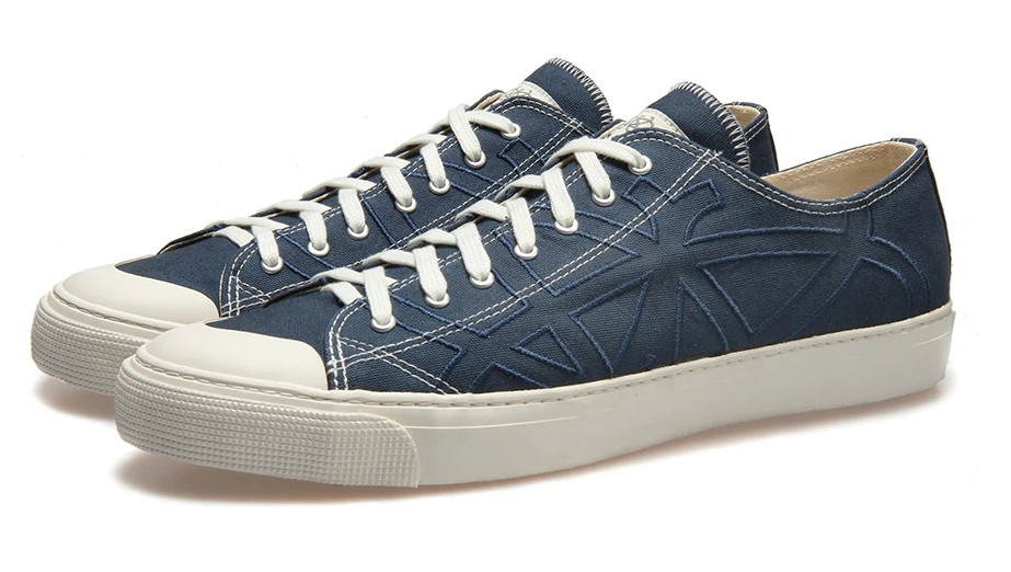 Po-Zu Moth Indigo lace-up trainers with white soles