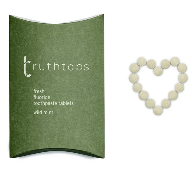 Wild Mint flavoured fluoride-added toothbrush tablets, Truthtabs from Truthbrush