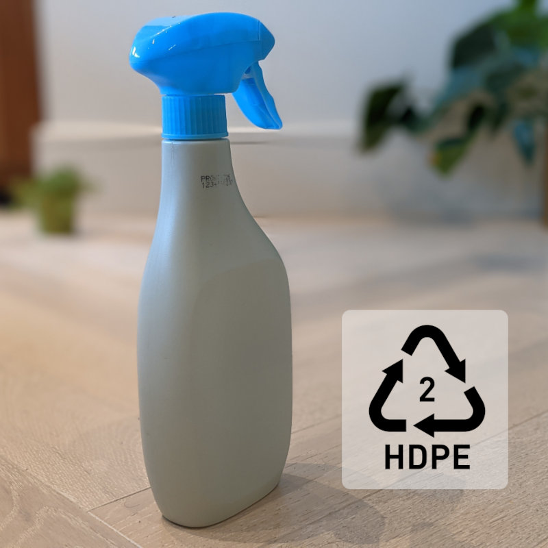 HDPE trigger spray bottle with resin code 2