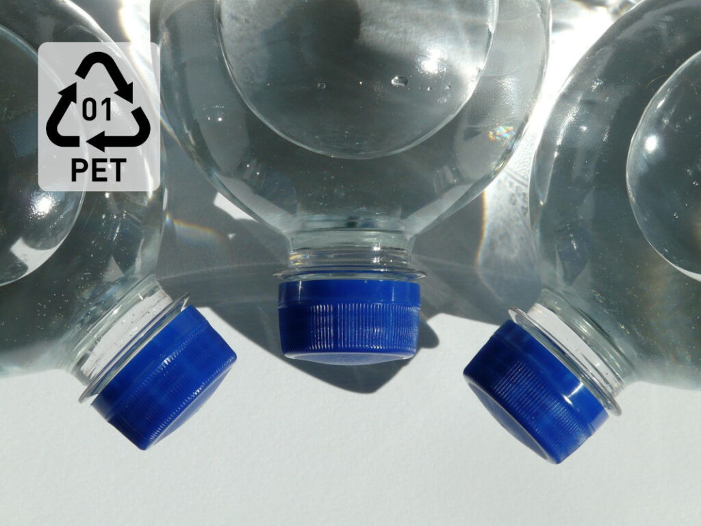 PET bottles with resin code 1