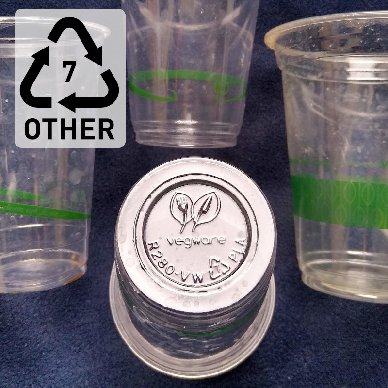 Polylactic Acid (PLA) cups by vegware with resin code 7 that indicates other plastic types
