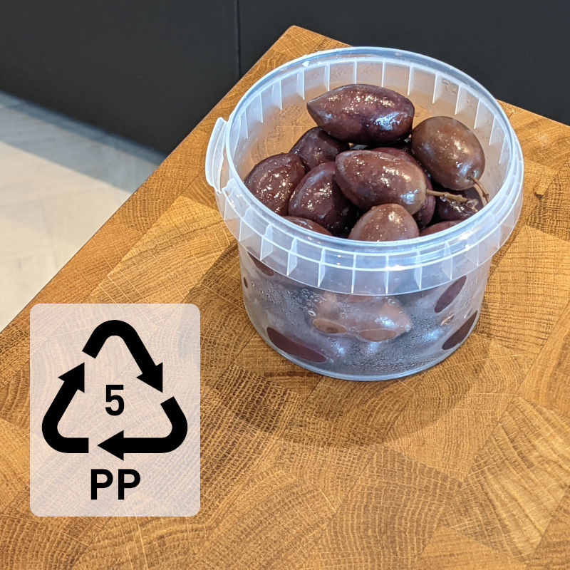 Polypropylene container for olives resin code 5