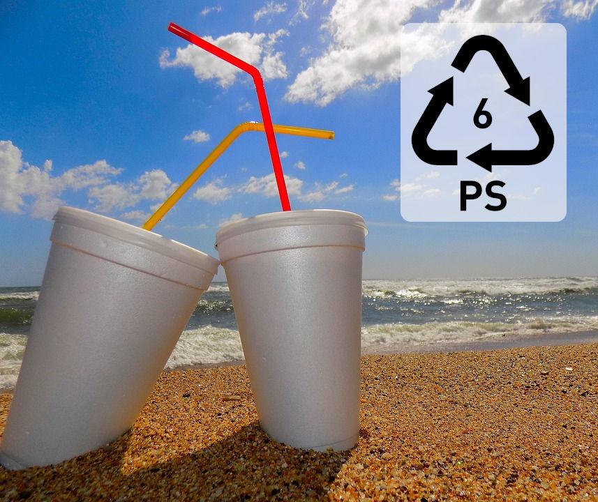 Polystyrene cups and polypropylene straws. Resin code 6