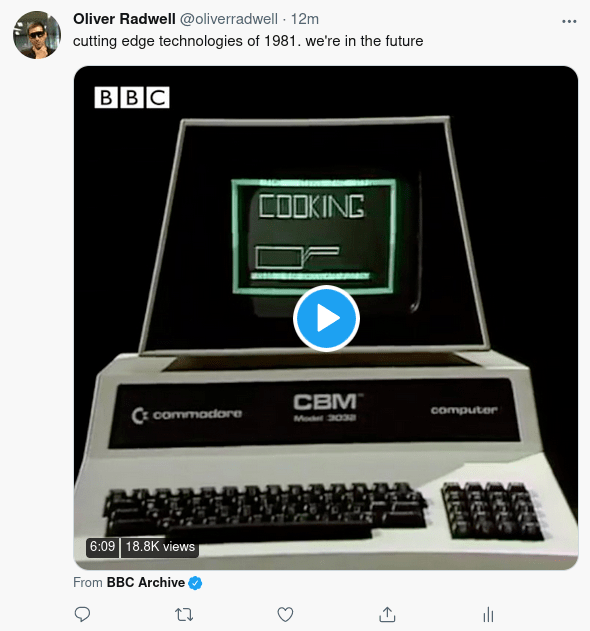 Screenshot of a Tweet directly sharing a video from BBC Archive
