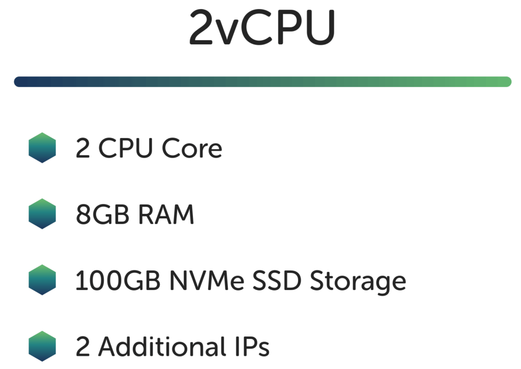 2vCPU has 2 CPU Cores, 8GB RAM, 100GB NVMe SSD storage and 2 Additional IPs
